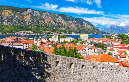 The Old town roofs and the Bay of Kotor, view from the fortress in Montenegro.