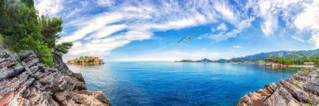 Sveti Stefan island, wonderful view from the rock, Budva, Montenegro. Stockfoto