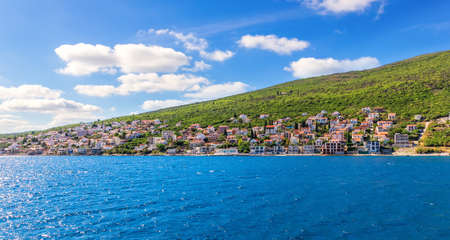 Villages on the coast in the Kotor bay, Adriatiac sea, Montenegro.