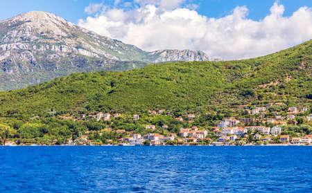 Coastline of the Adriatic sea in the Bay of Kotor, Montenegro. Stockfoto