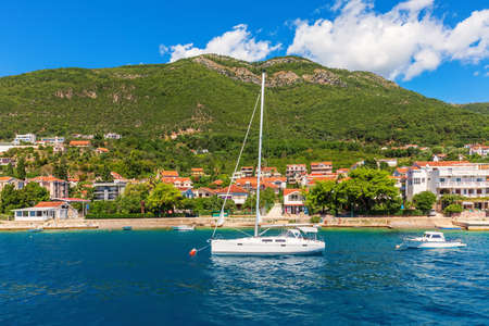 Yachts near the Adriatic coast in the Bay of Kotor, Montenegro.