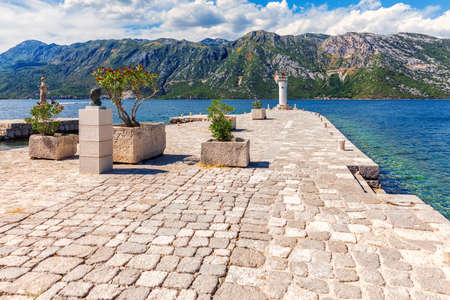 Lighthouse near Our Lady of the Rock church, Kotor, Montenegro. Stockfoto