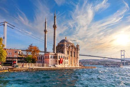 Ortakoy Mosque and the Bosphorus bridge at sunset, Istanbul, Turkey.