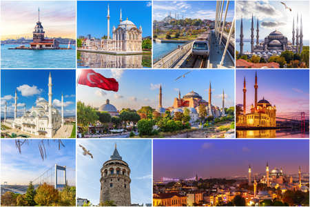Famous place of Istanbul, Turkey in the collage. Stockfoto