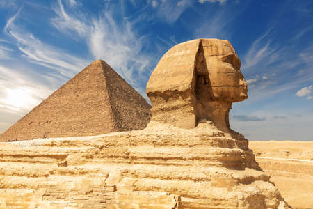 The Great Sphinx and the Pyramid of Cheops, Giza, Egypt.