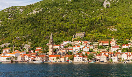 Perast Old Town in the Bay of Kotor, beautiful summer view from the sea, Montenegro.