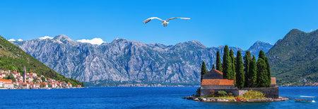 St. George island in the Bay of Kotor near Perast, Montenegro panorama Stockfoto