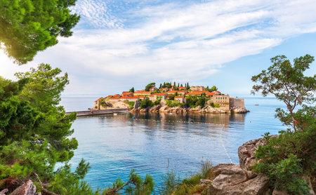Sveti Stefan island, view from the rock, Budva riviera, Montenegro Stockfoto
