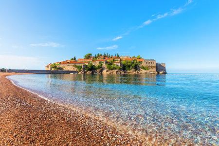 Sveti Stefan islet near Budva, view from the Beach, Montenegro