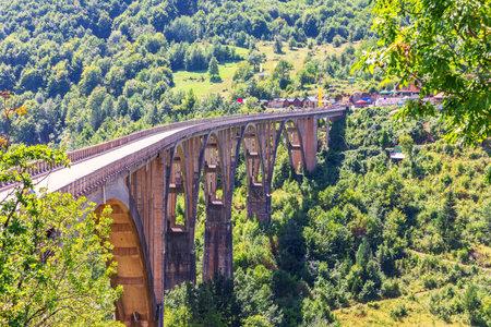 Durdevica Bridge over the Tara river, side view, Montenegro