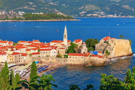 Old Town of Budva, aerial view, Montenegro