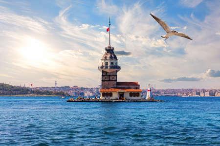 The Maidens Tower or the Leanders Tower in the Marmara sea, the Bosporus, Istanbul, Turkey