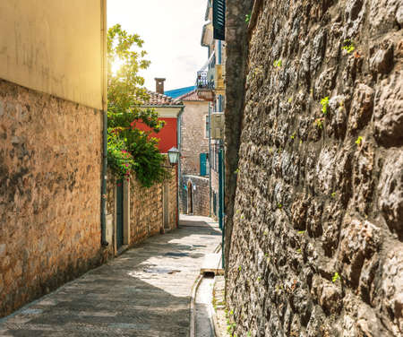 Traditional narrow street in Europe, Old Town of Herceg Novi, Montenegro