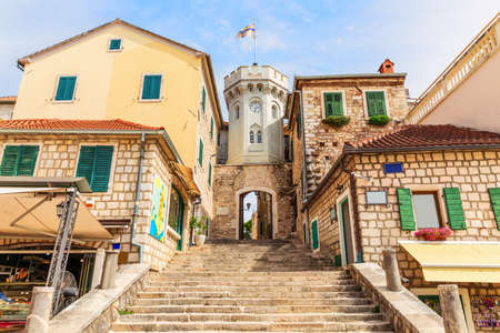 The clock-tower and the gate to the Old town of Herceg Novi, Montenegro