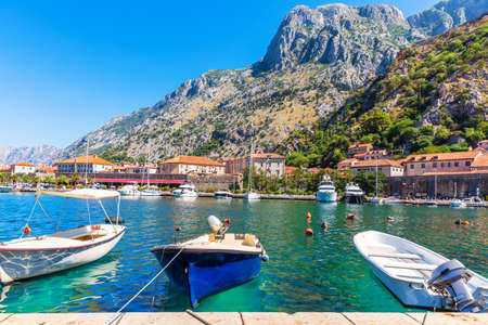 Kotor marina with boats and yachts, beautiful harbor view, Montenegro. Stockfoto