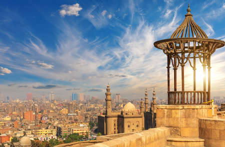 The Mosque-Madrassa of Sultan Hassan, view from the Old pavilion on the Citadel roof, Cairo, Egypt.