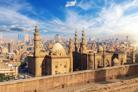 The Mosque-Madrassa of Sultan Hassan at sunset, Cairo, view from the Citadel in Egypt. Stockfoto
