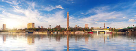 Panorama of Cairo at sunset, the TV Tower and Nile view, Egypt.