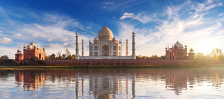 Taj Mahal at sunset and its reflection, place of visit in India, view from Mehtab Bagh, Agra, Uttar Pradesh.
