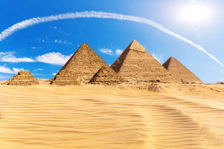 The Great Pyramids of Giza in the desert, Egypt