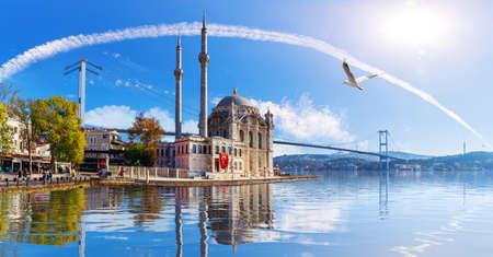 Ortakoy Mosque near the Bosphorus Bridge, beautiful sea view, Istanbul