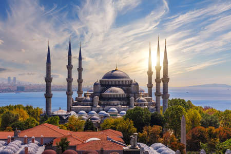 The Blue Mosque or Sultan Ahmet Mosque at sunset, Istanbul, Turkey