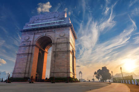 India Gate in New Delhi, sunset view.