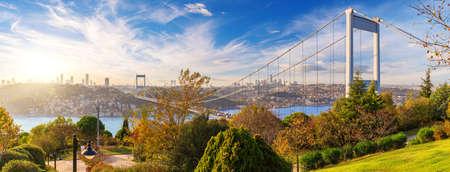 The Second Bosphorus Bridge or Fatih Sultan Mehmet Bridge, Istanbul. 免版税图像