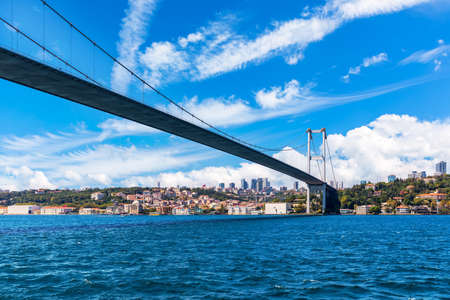 The Bosphorus Bridge or the 15 July Martyrs Bridge with Ortakoy Mosque on the background, Istanbul