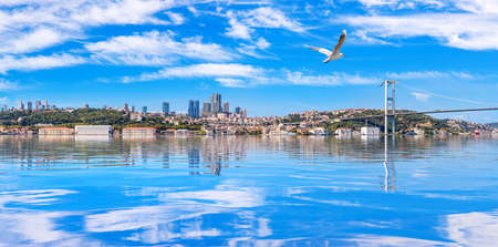 Istanbul coastline panorama with The Bosphorus bridge and skyscrappers on the background