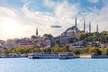 The Suleymaniye Mosque in the Golden Horn inlet, Istanbul. 免版税图像