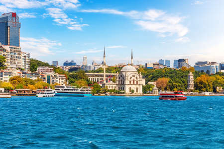 The Coastline of Istanbul with the Molla Celebi Mosque, Bosphorus straight, Turkey. 免版税图像