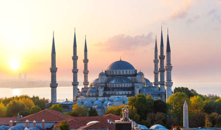 The Blue Mosque or Sultan Ahmet Mosque at sunset, Istanbul, Turkey.
