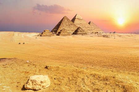 Famous Pyramids of Egypt at sunset, Giza