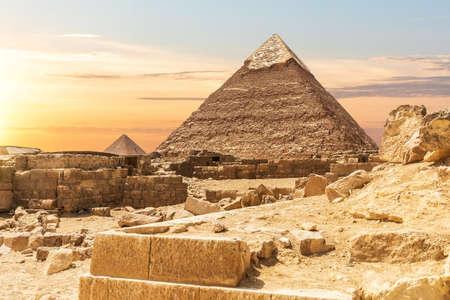 Ruins of ancient Egypt near the Pyramids of Giza 免版税图像