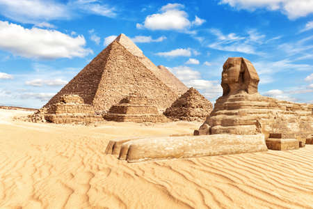 View on the Great Sphinx and the Pyramids in Giza.