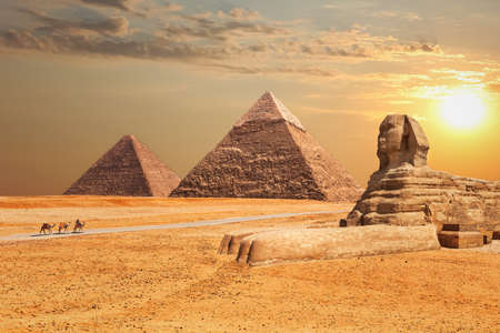 The Sphinx and the Pyramids at sunset in Giza. 免版税图像