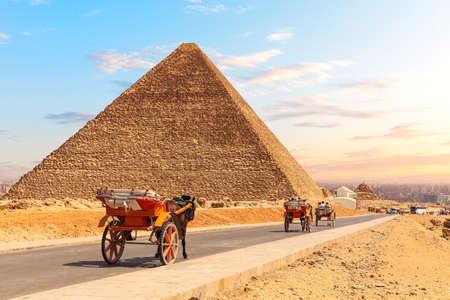 A Carriage near the Pyramids of Egypt, Giza