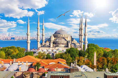 Blue Mosque or Sultan Ahmet Mosque, famous place of visit in Istanbul, Turkey.