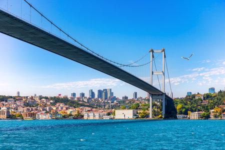 The Bosphorus Bridge and modern Istanbul view.