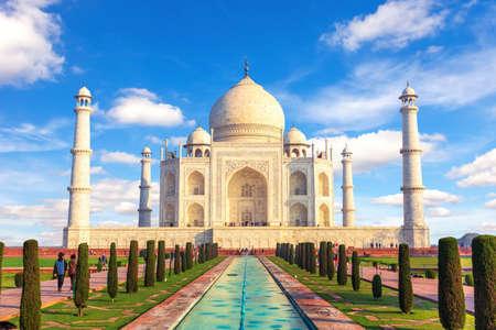 Taj Mahal in Agra, Uttar Pradesh, India, sunny day view.