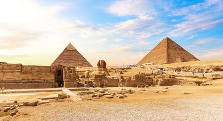 The Great Sphinx and the Egypt Pyramid Complex at sunset, Giza