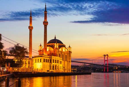 Ortakoy Mosque at sunrise near the Bosphorus bridge, Istanbul, Turkey.