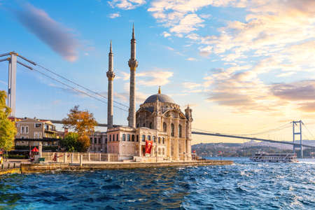 The Bosphorus Bridge and the Ortakoy Mosque at sunset, Istanbul.
