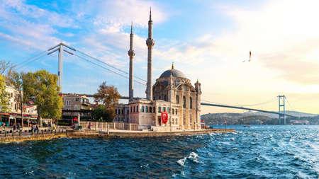The Bosphorus Bridge and the Ortakoy Mosque panorama, Istanbul