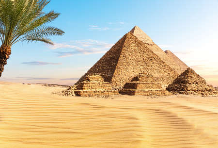 Pyramids of Egypt at sunset in the sunny desert of Giza, famous Wonder of the World