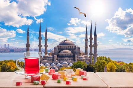 Istanbul turkish tea in front of the Blue Mosque, Turkey.