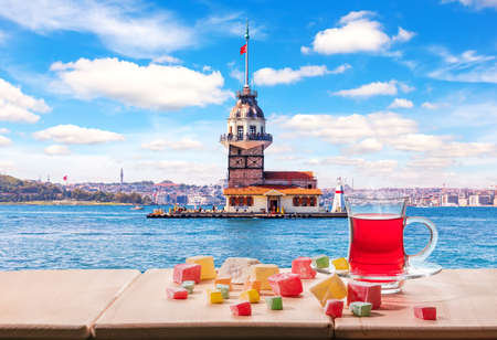 The Maiden's Tower in the Bosphorus and the Turkish tea, Istanbul.