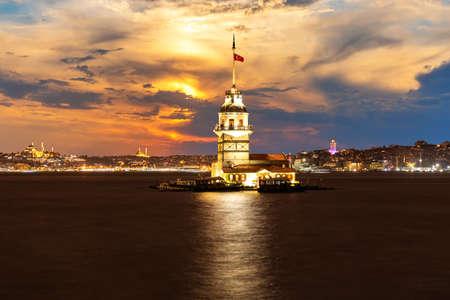 Illuminated Maidens Tower at night in the Bosphorus, Istanbul