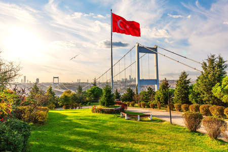 Turkish flag near the Second Bosphorus Bridge or Fatih Sultan Mehmet Bridge, Istanbul